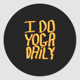 I Do Yoga Daily. Yellow and Black. Classic Round Sticker