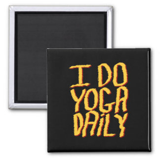 I Do Yoga Daily. Yellow and Black. Magnet