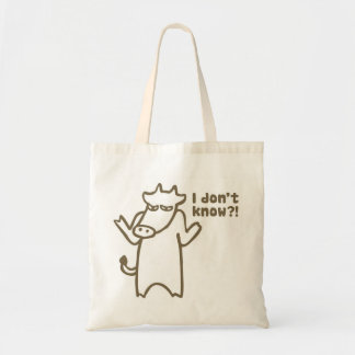 I Don't Know Cartoon Cow Canvas Tote Bag
