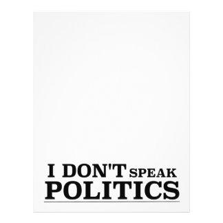 I Don't Speak Politics Letterhead