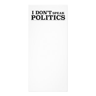 I Don't Speak Politics Rack Card