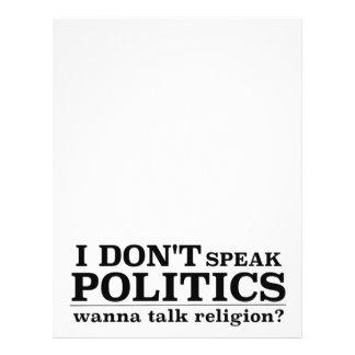 I Don't Speak Politics Wanna Talk Religion Letterhead