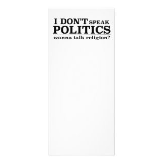 I Don't Speak Politics Wanna Talk Religion Rack Card