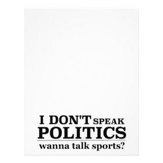 I Don't Speak Politics Wanna Talk Sports Letterhead