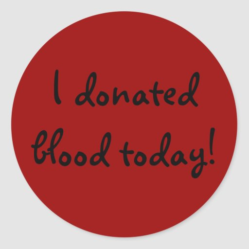 I donated blood today! classic round sticker