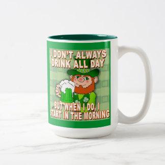 I Don't Always Drink All Day...Leprechaun Meme Two-Tone Coffee Mug