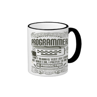 I don't always test my code ringer coffee mug