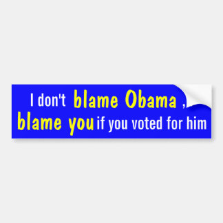 I don't blame Obama, but you if you voted for him! Bumper Stickers