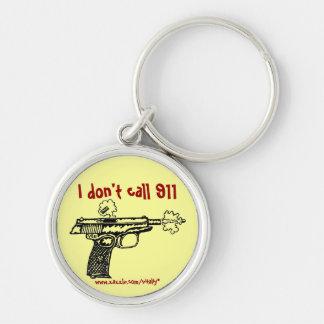 I don't call 911 shooting gun funny keychain