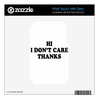 i don't care decals for iPod touch 4G