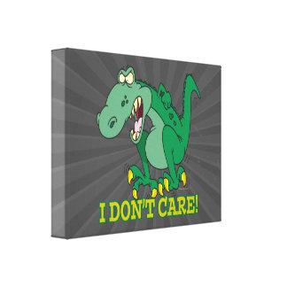 i dont care t-rex temper tantrum canvas print