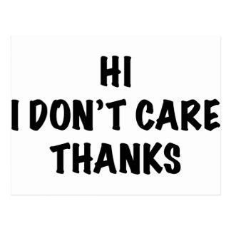 I Don't Care Thanks Postcard