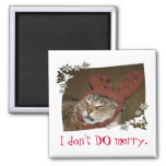 I don't DO merry.  Cat with Antlers Magnet!! 2 Inch Square Magnet