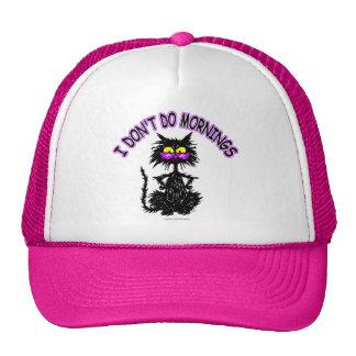 """I Don't Do Mornings"" Cat Gifts Trucker Hat"