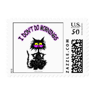 """""""I Don't Do Mornings"""" Cat Gifts Postage"""