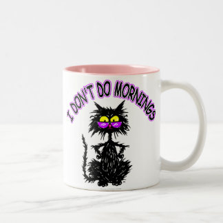 """""""I Don't Do Mornings"""" Cat Gifts Two-Tone Coffee Mug"""