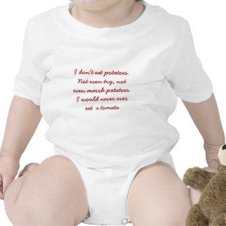 I don't eat peas tomato  patato  baby says t-shirt