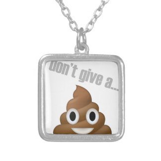 i dont give a poop emoji silver plated necklace