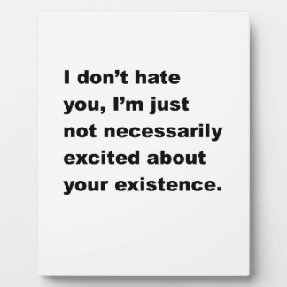 I Don't Hate You Display Plaque
