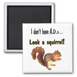 I don't have A.D.D...  Look a squirrel! 2 Inch Square Magnet