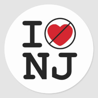 I Don't Heart New Jersey Classic Round Sticker