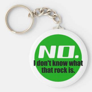 I Don't Know What That Rock Is (Green) Basic Round Button Keychain