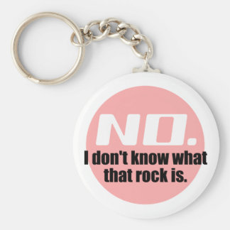 I Don't Know What That Rock Is (Pink) Basic Round Button Keychain
