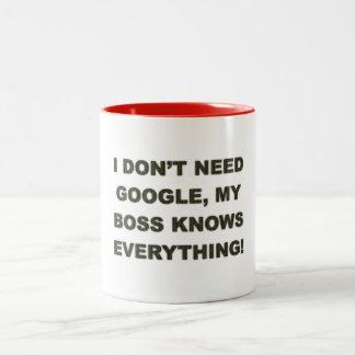 I don't need google my boss knows everything - Mug