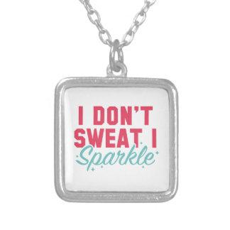I Don't Sweat I Sparkle Square Pendant Necklace