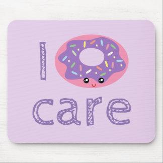I donut care cute kawaii doughnut pun humor emoji mouse pad