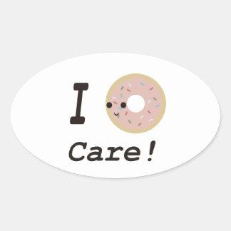 I donut care! oval sticker