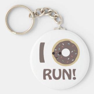I donut run basic round button keychain