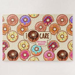 I Doughnut Care Cute Funny Donut Sweet Treats Love Jigsaw Puzzle