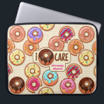 "I Doughnut Care Cute Funny Donut Sweet Treats Love Laptop Sleeve<br><div class=""desc"">Doughnut or donut? Say ""I don't care"" in a cheeky way with this design that says ""I { doughnut } care"" signed ""sincerely, Your Name"". Celebrate your love for doughnuts with this fun, colorful donut pattern design. Yummy donuts with rainbow-colored glazing, icing, frosting, sprinkles and other sugary decorations sit on...</div>"