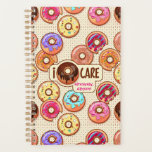 "I Doughnut Care Cute Funny Donut Sweet Treats Love Planner<br><div class=""desc"">Doughnut or donut? Say ""I don't care"" in a cheeky way with this design that says ""I { doughnut } care"" signed ""sincerely, Your Name"". Celebrate your love for doughnuts with this fun, colorful donut pattern design. Yummy donuts with rainbow-colored glazing, icing, frosting, sprinkles and other sugary decorations sit on...</div>"