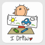 I Draw Square Sticker