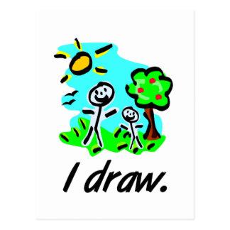 I Draw Stick Figure Artist Giftware Postcard