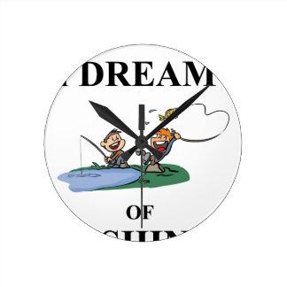 I Dream Of Fishing Round Clock
