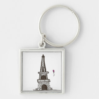 I Dream Of Paris, 2 Silver-Colored Square Keychain