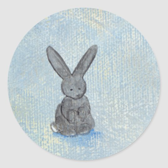 I Dream of Rabbits fun unique modern art painting Classic Round Sticker