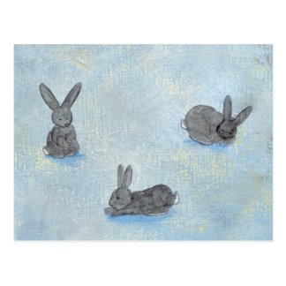 I Dream of Rabbits fun unique modern art painting Postcard