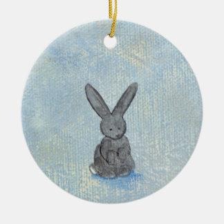 I Dream of Rabbits sweet whimsical art painting Ceramic Ornament