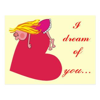 I Dream of You Sleepy Girl Love Postcard