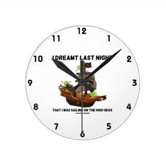 I Dreamt Last Night Sailing High Seas Bug Droid Round Clock
