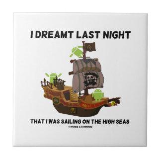 I Dreamt Last Night Sailing High Seas Bug Droid Small Square Tile