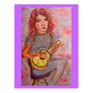 i drink beer and play ukulele postcard