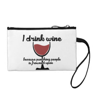 I drink wine because punching people is frowned up coin wallet