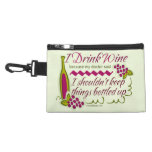 I Drink Wine Funny Quote Accessories Bags
