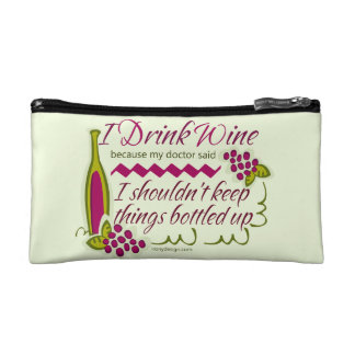 I Drink Wine Funny Quote Cosmetic Bags