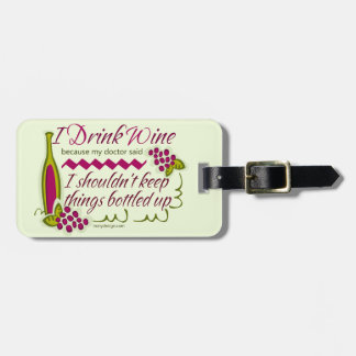 I Drink Wine Funny Quote Personalized Luggage Tag